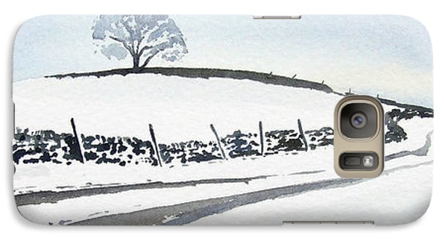 Snowscene In The Yorkshire Dales Galaxy S7 Case featuring the painting Winter Snow In The Dales by Paul Dene Marlor