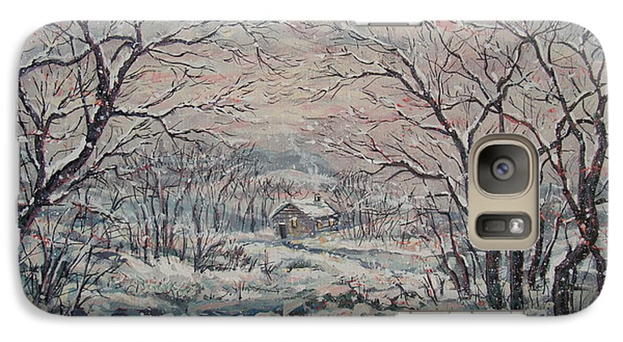 Landscape Galaxy S7 Case featuring the painting Wintery December by Leonard Holland