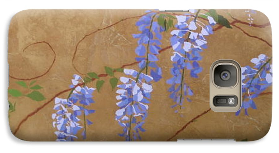 Periwinkle Wisteria Flowers Galaxy S7 Case featuring the painting Wisteria by Leah Tomaino