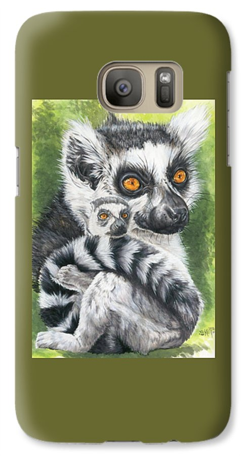 Lemur Galaxy S7 Case featuring the mixed media Wistful by Barbara Keith