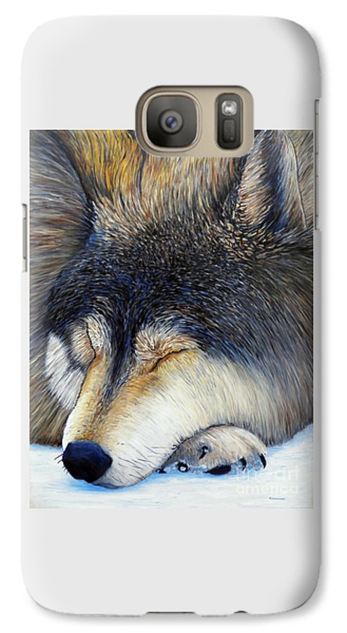 Wolf Galaxy S7 Case featuring the painting Wolf Dreams by Brian Commerford