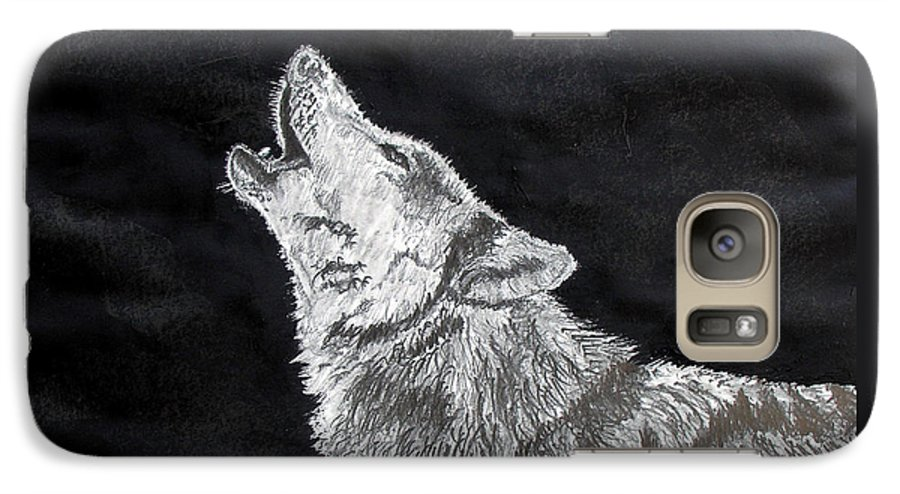 Pencil Galaxy S7 Case featuring the drawing Wolf Howl by Stan Hamilton