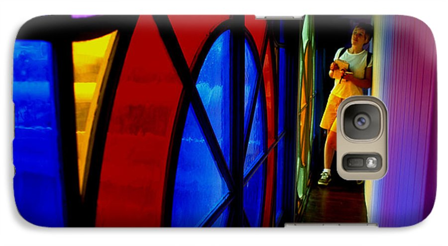 Colorful Galaxy S7 Case featuring the photograph Woman And Stained Glass by Carl Purcell