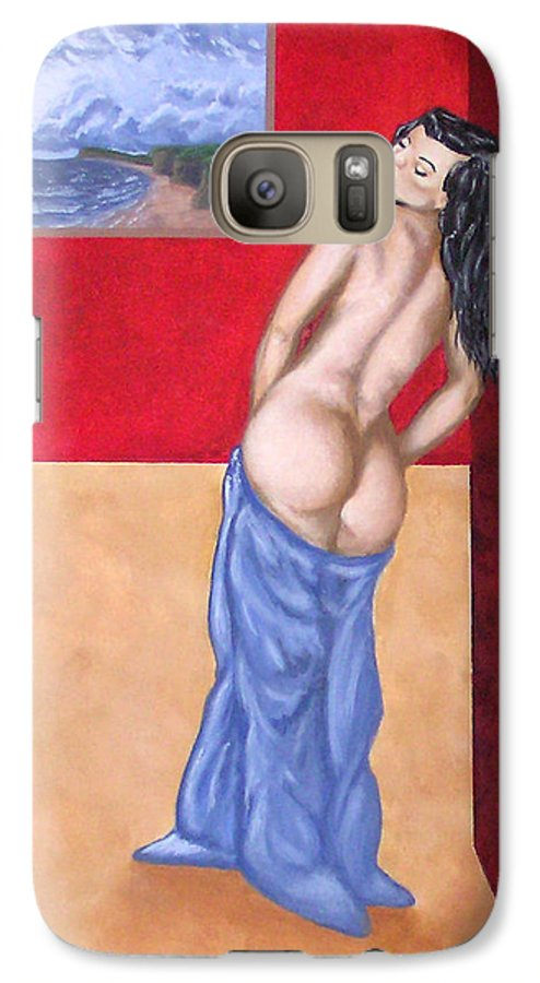 Nude Galaxy S7 Case featuring the painting Woman In Blue Robe by Adam Johnson
