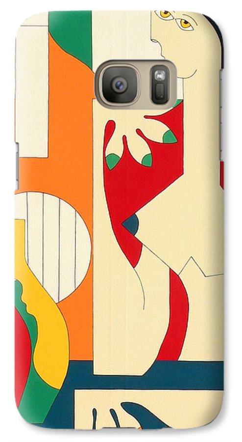 Women Music Modern Green Orange Bleu Gitar Galaxy S7 Case featuring the painting Women And Music by Hildegarde Handsaeme