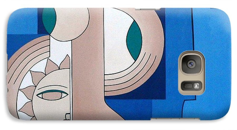Women Bips Bleu Modern Galaxy S7 Case featuring the painting Women And Questions by Hildegarde Handsaeme