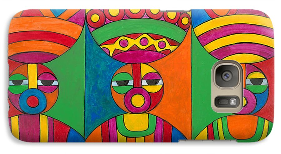 Abstract Galaxy S7 Case featuring the painting Women With Calabashes by Emeka Okoro