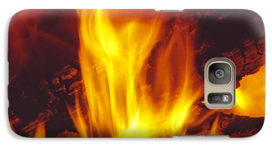 Fire Galaxy S7 Case featuring the photograph Wood Stove - Blazing Log Fire by Steve Ohlsen