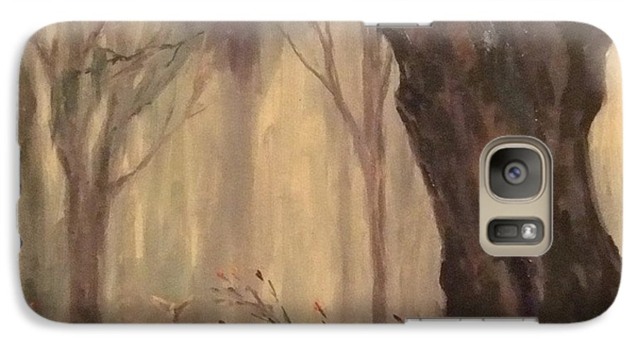 Landscape Galaxy S7 Case featuring the painting Woodland Fawn by Ruth Stromswold