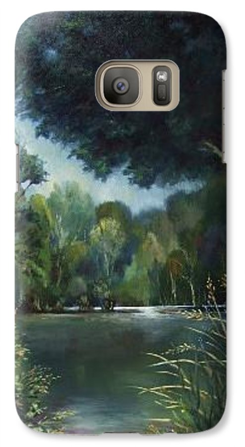 Landscape Woodland Galaxy S7 Case featuring the painting Woodland Pond by Ruth Stromswold