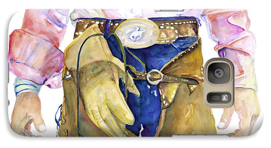 Cowboy Painting Galaxy S7 Case featuring the painting Wrangler by Pat Saunders-White