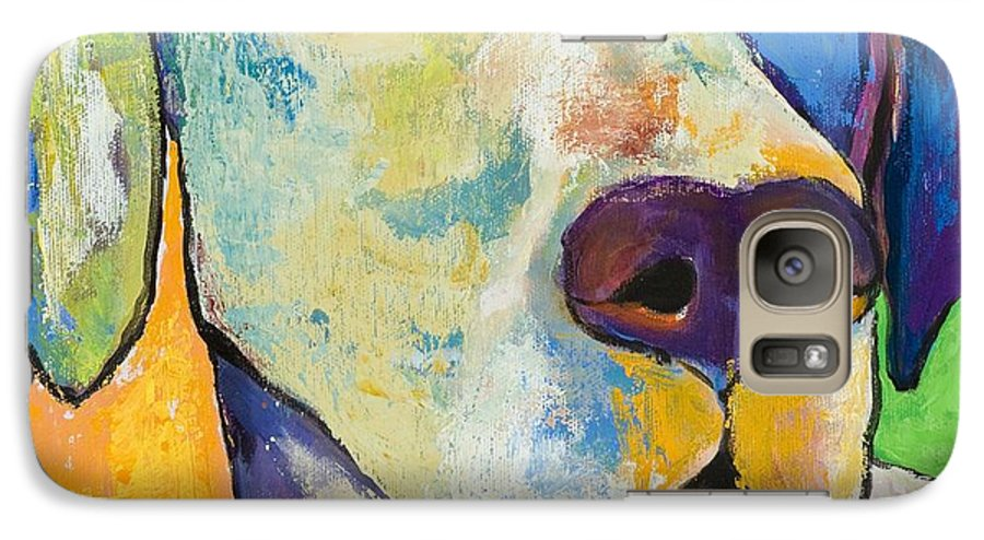 German Shorthair Animalsdog Blue Yellow Acrylic Canvas Galaxy S7 Case featuring the painting Yancy by Pat Saunders-White