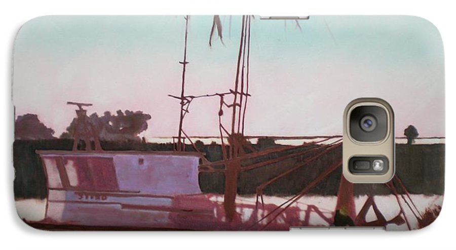 Seascape Galaxy S7 Case featuring the digital art Yankee Town Fishing Boat by Hal Newhouser