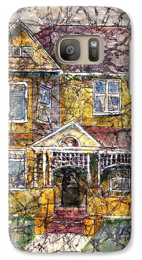 House Galaxy S7 Case featuring the mixed media Yellow Batik House by Arline Wagner