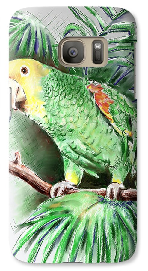 Bird Galaxy S7 Case featuring the digital art Yellow-headed Amazon Parrot by Arline Wagner