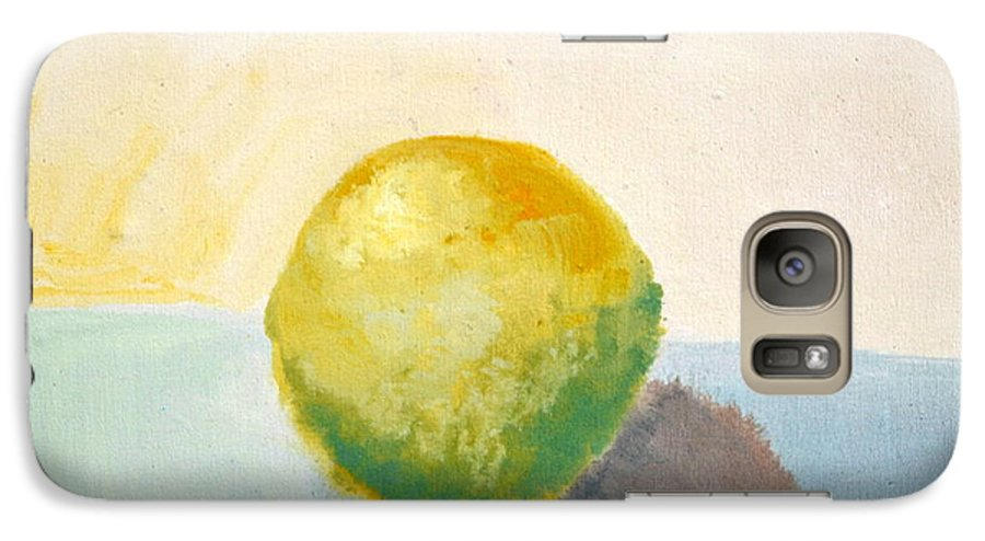 Lemon Galaxy S7 Case featuring the painting Yellow Lemon Still Life by Michelle Calkins
