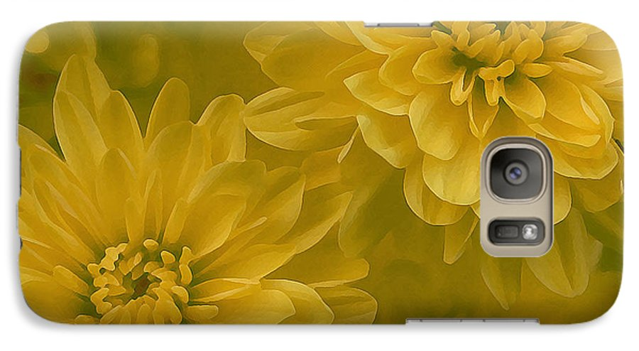 Yellow Mum Art Galaxy S7 Case featuring the photograph Yellow Mums by Linda Sannuti