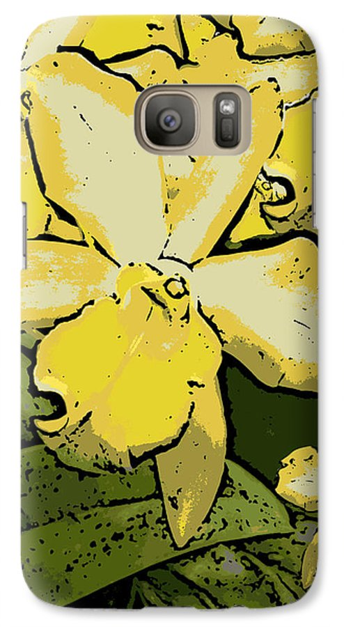 Orchid Galaxy S7 Case featuring the photograph Yellow Orchids Woodcut by Ann Tracy