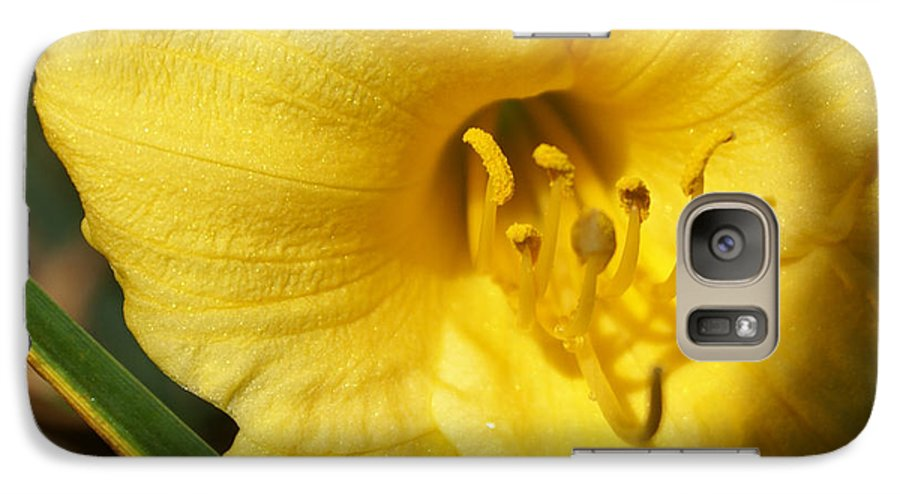 Yellow Galaxy S7 Case featuring the painting Yellow Pistols by Debbie May