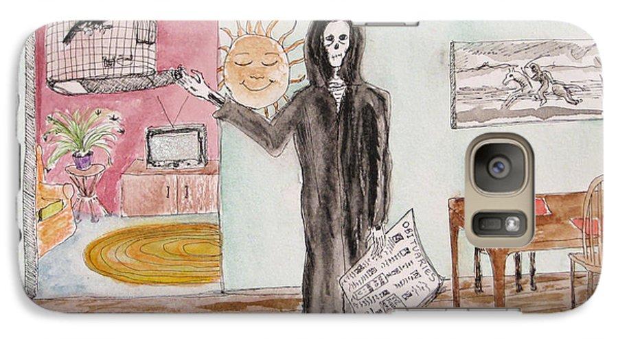 Bird Birdcage Darkestartist Death Home Humor Ink Watercolor Watercolour Darkest Artist Galaxy S7 Case featuring the painting Yesterdays News by Darkest Artist