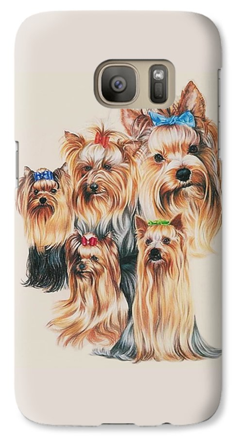 Purebred Galaxy S7 Case featuring the drawing Yorkshire Terrier by Barbara Keith