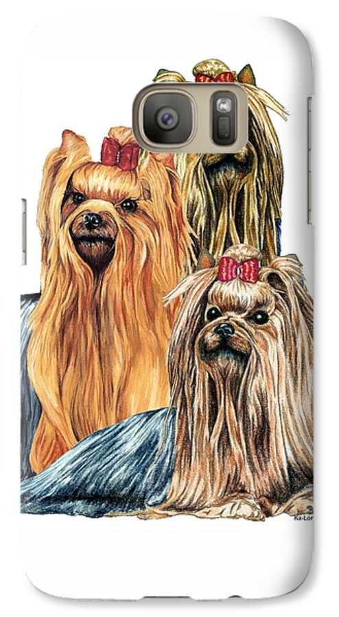 Yorkshire Terrier Galaxy S7 Case featuring the drawing Yorkshire Terriers by Kathleen Sepulveda
