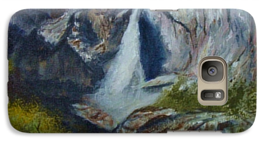 Waterfall Galaxy S7 Case featuring the painting Yosemite Waterfall by Quwatha Valentine