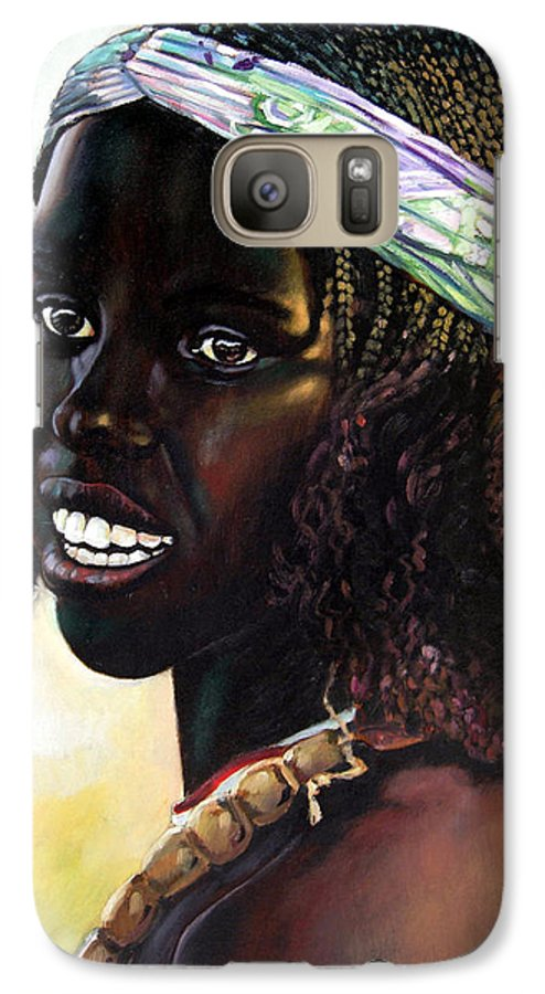 Young Black African Girl Galaxy S7 Case featuring the painting Young Black African Girl by John Lautermilch