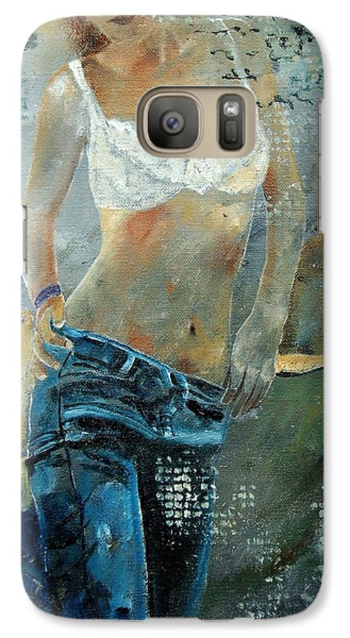 Girl Galaxy S7 Case featuring the painting Young Girl In Jeans by Pol Ledent