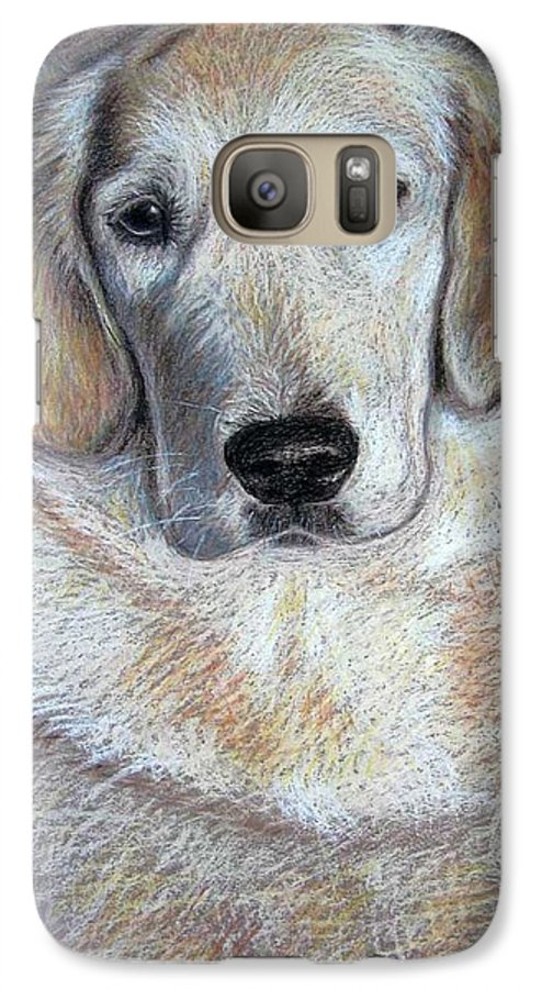 Dog Galaxy S7 Case featuring the pastel Young Golden Retriever by Nicole Zeug