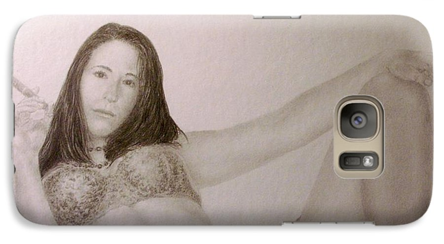 Female Nude Cigars Sexy Portrait Lingerie Galaxy S7 Case featuring the drawing Your Move................. by Tony Ruggiero