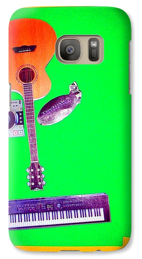 Music Galaxy S7 Case featuring the mixed media Yvie's Music Mask by Debra Bretton Robinson