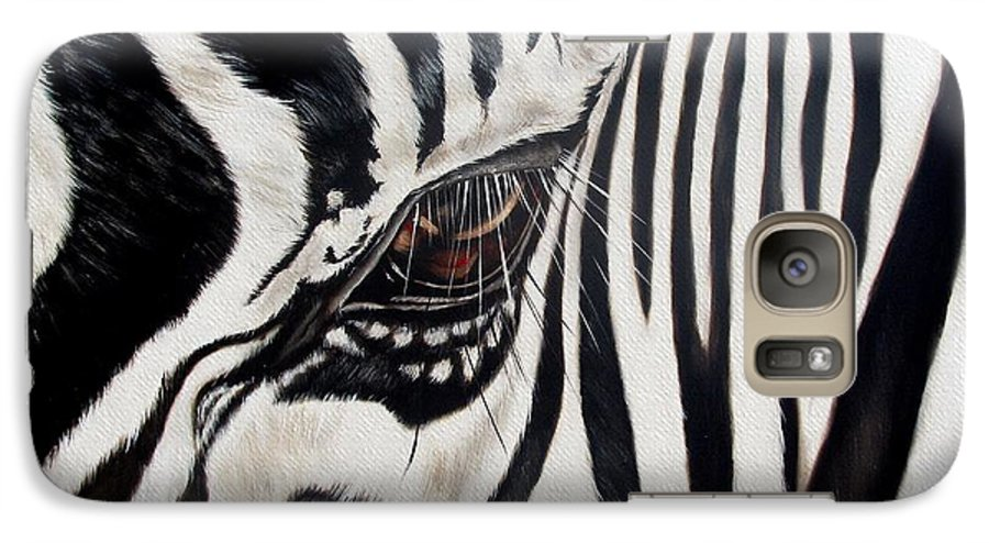 Zebra Galaxy S7 Case featuring the painting Zebra Eye by Ilse Kleyn