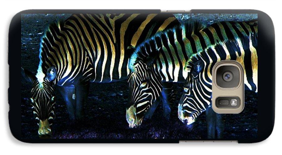 Zebra Galaxy S7 Case featuring the digital art Zebras Glow by Kenna Westerman