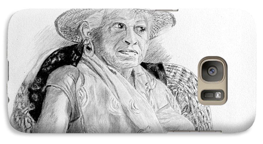 Portrait Galaxy S7 Case featuring the drawing Zelda by Quwatha Valentine