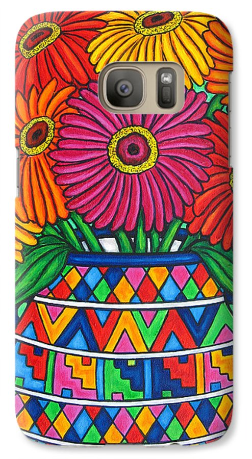 Zinnia Galaxy S7 Case featuring the painting Zinnia Fiesta by Lisa Lorenz