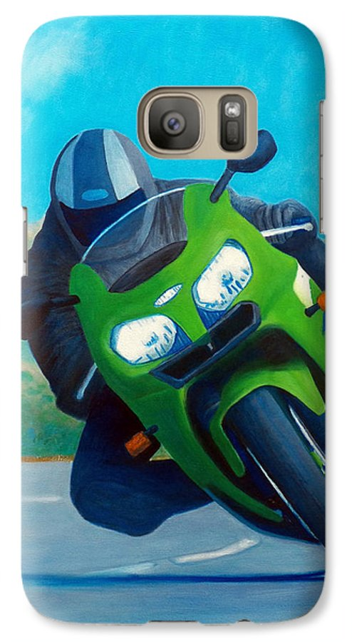 Motorcycle Galaxy S7 Case featuring the painting Zx9 - California Dreaming by Brian Commerford