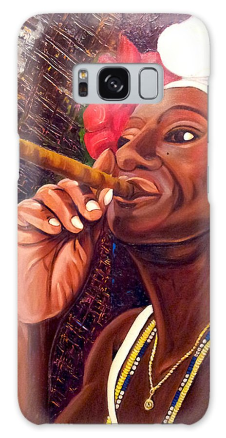 Cuban Art Galaxy S8 Case featuring the painting  Cigar Lady by Jose Manuel Abraham