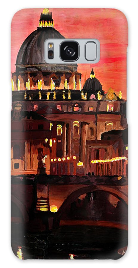 Rome Galaxy S8 Case featuring the painting Eternal City Rome St Peter Vatican At Dusk by M Bleichner