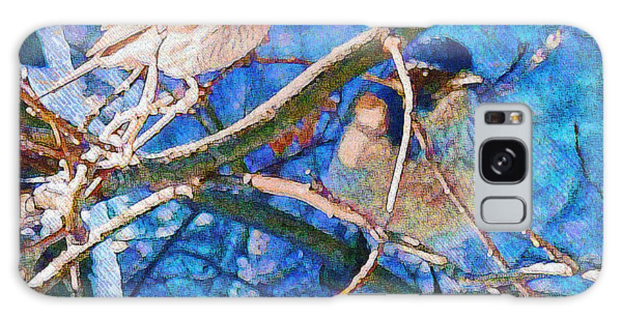 Nature Galaxy S8 Case featuring the painting Finch And Blue Jay - California Winter Day by Douglas MooreZart