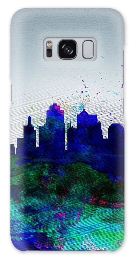 Kansas City Galaxy S8 Case featuring the painting Kansas City Watercolor Skyline by Naxart Studio
