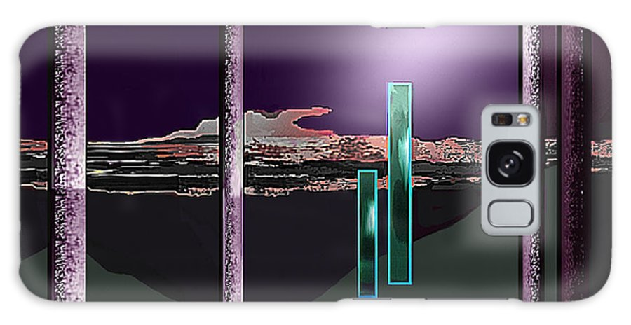Night Galaxy S8 Case featuring the painting 076 - Landscape With Columns And Two Monoliths by Irmgard Schoendorf Welch