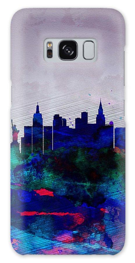 Las Vegas Galaxy S8 Case featuring the painting Las Vegas Watercolor Skyline by Naxart Studio