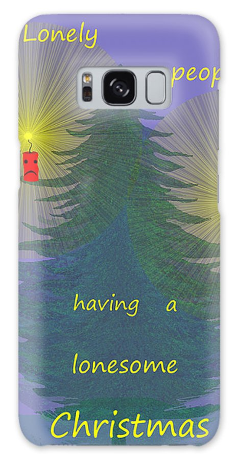 344 Galaxy S8 Case featuring the painting 344 - Lonely People - Christmas Card  by Irmgard Schoendorf Welch