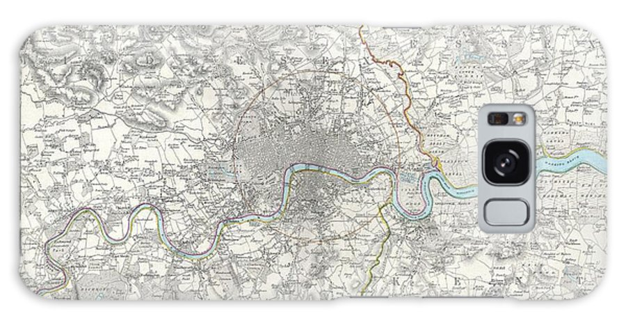 A Difficult To Find Map Of The Vicinity Of London Galaxy S8 Case featuring the photograph Map Of London And Environs by Paul Fearn