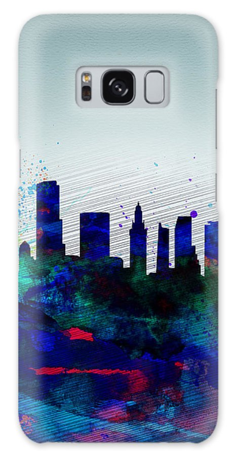 Miami Galaxy S8 Case featuring the painting Miami Watercolor Skyline by Naxart Studio