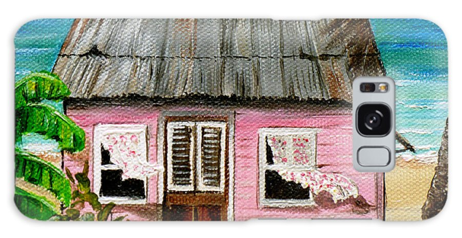 Caribbean House Galaxy Case featuring the painting Pink Caribbean House by Karin Dawn Kelshall- Best
