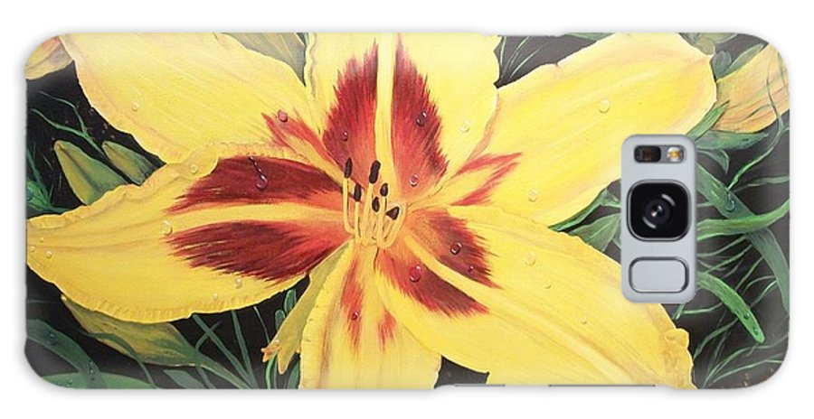 Firery Center Galaxy S8 Case featuring the painting Yellow Lily by Sharon Duguay