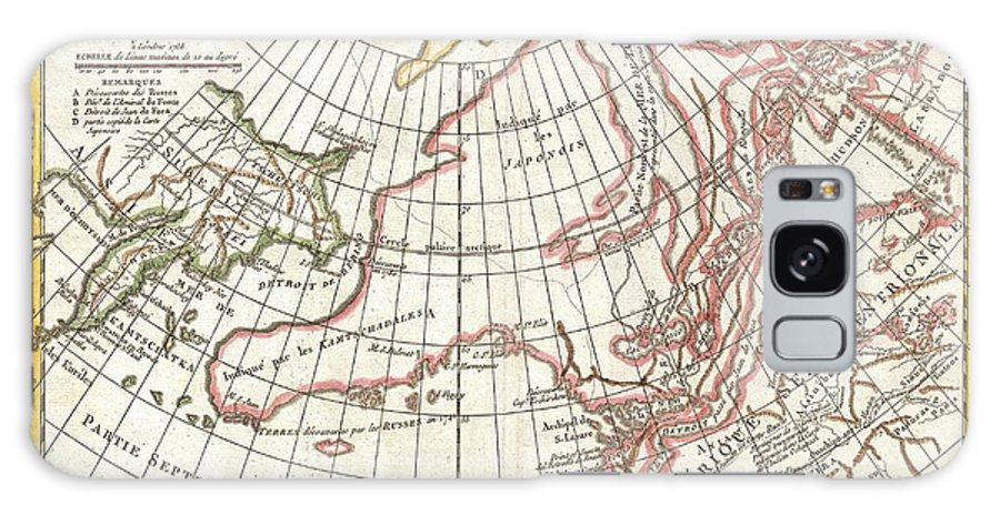 Galaxy S8 Case featuring the photograph 1772 Vaugondy Diderot Map Of Alaska The Pacific Northwest And The Northwest Passage by Paul Fearn