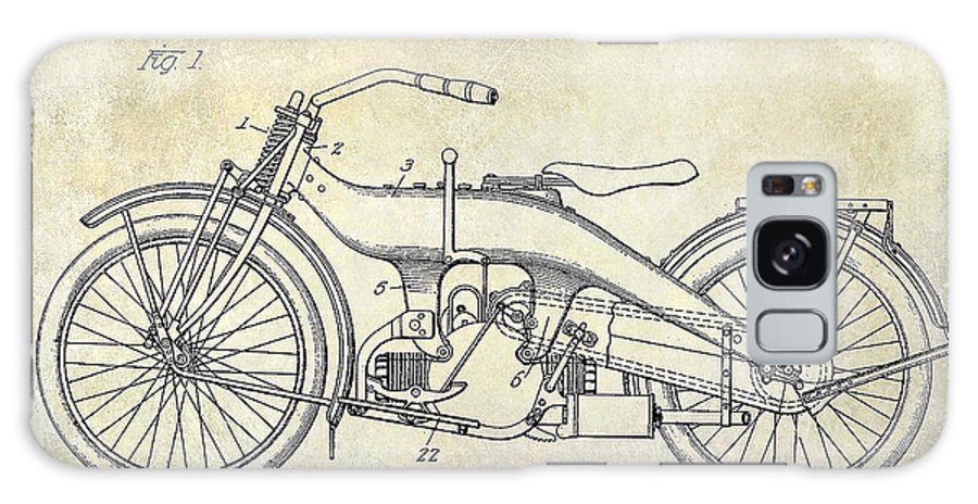 Harley Davidson Patent Drawing Galaxy S8 Case featuring the photograph 1924 Harley Davidson Motorcycle Patent by Jon Neidert